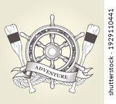 vintage steering wheel and oars ...   Shutterstock .eps vector #1929110441