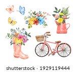 Spring Watercolor Illustration. ...