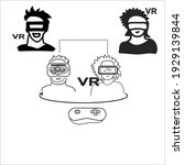 virtual reality icon  man and...   Shutterstock .eps vector #1929139844