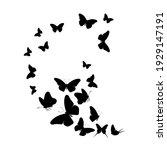 flock of silhouette black... | Shutterstock .eps vector #1929147191