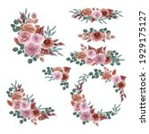 watercolor bouquets of delicate ... | Shutterstock . vector #1929175127