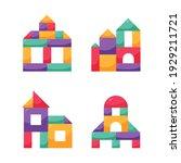 set wooden color cubes toy.... | Shutterstock .eps vector #1929211721