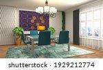 interior dining area. 3d... | Shutterstock . vector #1929212774