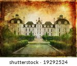 castle on sunset - picture in grunge style - stock photo