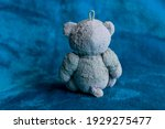 Small photo of Little plushy,plushie bear Lonely. depressed,meditating concept