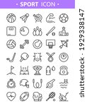 sport line icons. vector set of ... | Shutterstock .eps vector #1929338147