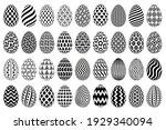 black and white easter egg... | Shutterstock . vector #1929340094