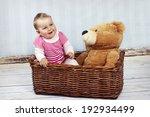 little baby girl with teddy bear | Shutterstock . vector #192934499