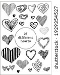 set of 25 hand drawn heart.... | Shutterstock .eps vector #1929354527