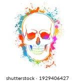 multi colored skull. mixed... | Shutterstock .eps vector #1929406427