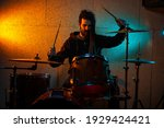 Drummer Playing Drums In...