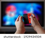 male gamer hands on console... | Shutterstock . vector #1929434504