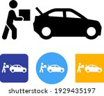 person placing box into car... | Shutterstock .eps vector #1929435197