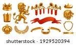 gold crown of the king. laurel... | Shutterstock .eps vector #1929520394