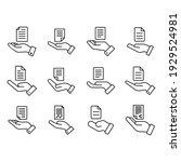 set of document handover line...   Shutterstock .eps vector #1929524981