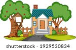 front view of mini house with...   Shutterstock .eps vector #1929530834