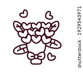 bouquet of heart flowers.... | Shutterstock .eps vector #1929543971
