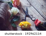Stock photo vintage floristic background colorful roses antique scissors and a rope on an old wooden table 192962114
