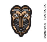 color tattoo mask in maori or... | Shutterstock .eps vector #1929627227