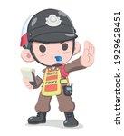 cute style thai traffic police... | Shutterstock .eps vector #1929628451