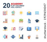 icon set of academy. flat color ...   Shutterstock .eps vector #1929654047
