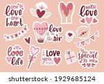 set stickers bohemian romantic... | Shutterstock .eps vector #1929685124