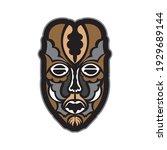 maori or samoan style mask.... | Shutterstock .eps vector #1929689144