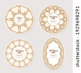 Set of four cercle label, decorative frame, border in art nouveau style, vintage, old, retro style. Tamplate good for product label with place for text. Vector illustration