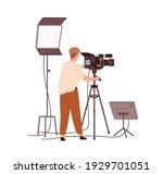 cameraman adjusting camera... | Shutterstock .eps vector #1929701051