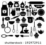 vector of big set kitchen icon   Shutterstock .eps vector #192972911