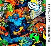 abstract bright graffiti... | Shutterstock .eps vector #1929741581