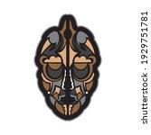 colored mask in maori or samoan ... | Shutterstock .eps vector #1929751781