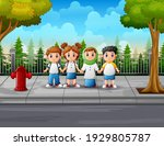 the student at the roadside... | Shutterstock .eps vector #1929805787