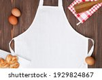 White Apron Template On Wooden...