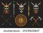 Viking Skulls Set. Medieval...