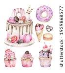 watercolor desserts.cake...   Shutterstock . vector #1929868577