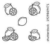 lemon set. collection icon... | Shutterstock .eps vector #1929869471