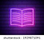 open book sketch neon icon....