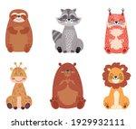 set of cute cartoon wild... | Shutterstock .eps vector #1929932111