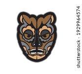 colored mask in maori or samoan ... | Shutterstock .eps vector #1929964574