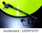 Green Vinyl Record Spinning On...