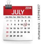 calendar of july 2014   Shutterstock .eps vector #192998357