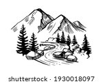 Mountain Landscape With Firs ...