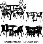 tables and chairs collection  ... | Shutterstock .eps vector #193005104