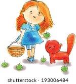 vector illustration. girl  cat... | Shutterstock .eps vector #193006484