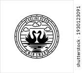 Swan Line Art Vintage Logo...