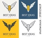 Pencil with wings, conceptual illustration for art, scripting, design themes. Logo template. Vector graphics.