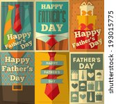 Father's Day Posters Set. Flat Design. Retro Style. Vector Illustration.