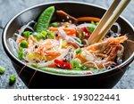 Shrimp And Vegetables Served...
