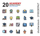 icon set of academy. line color ... | Shutterstock .eps vector #1930285967